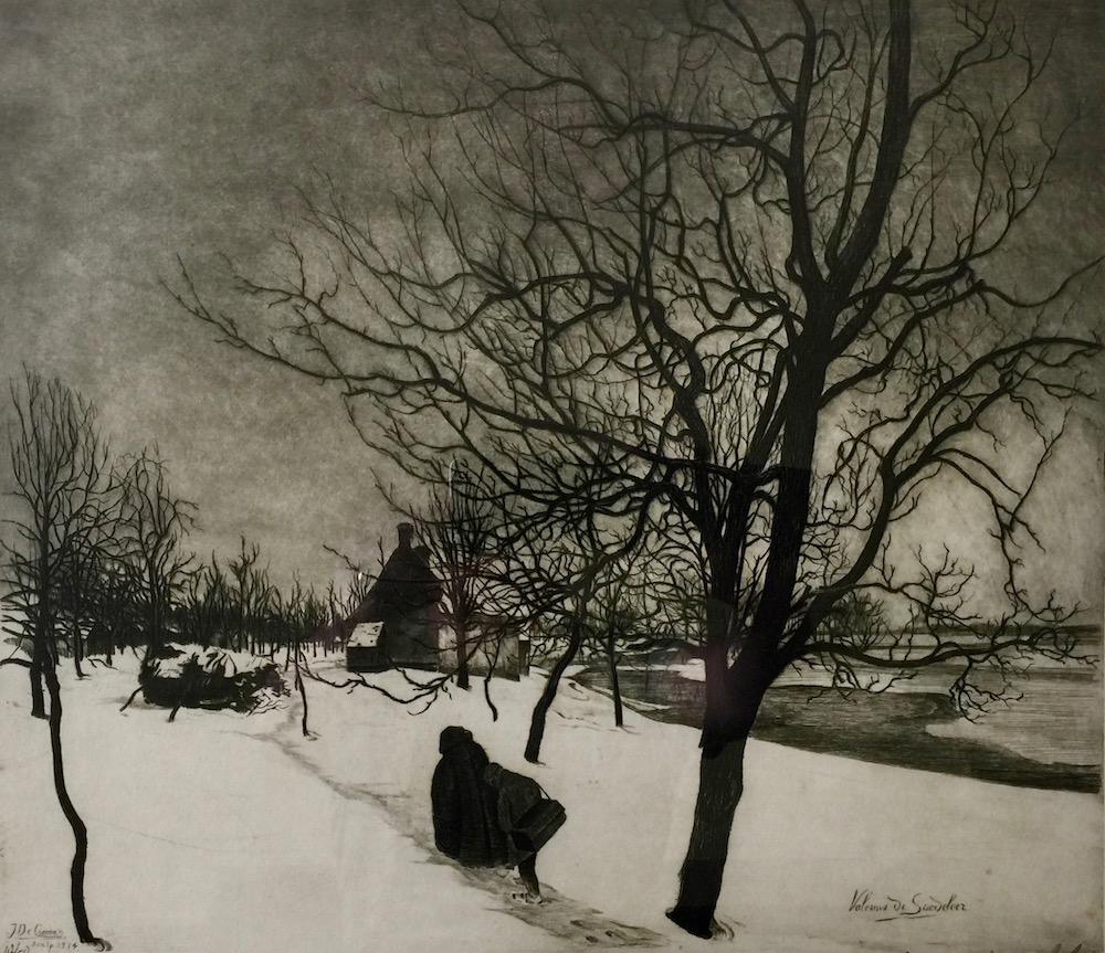 Saedeleer - Snow Scene with Farmhouse